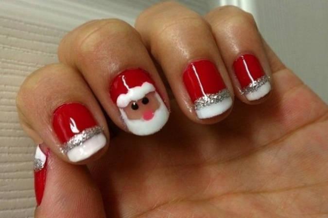 Маникюр шеллак на короткие ногти на новый год 2017