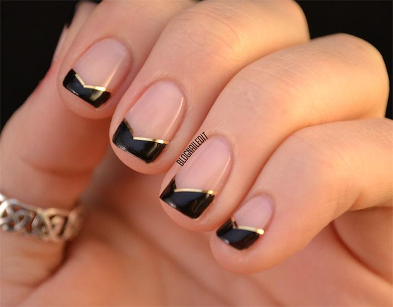 Дизайн ногтей с золотом френч