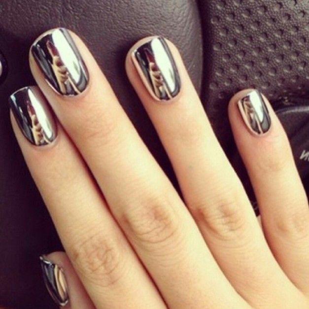 Ногти металлик дизайн фото