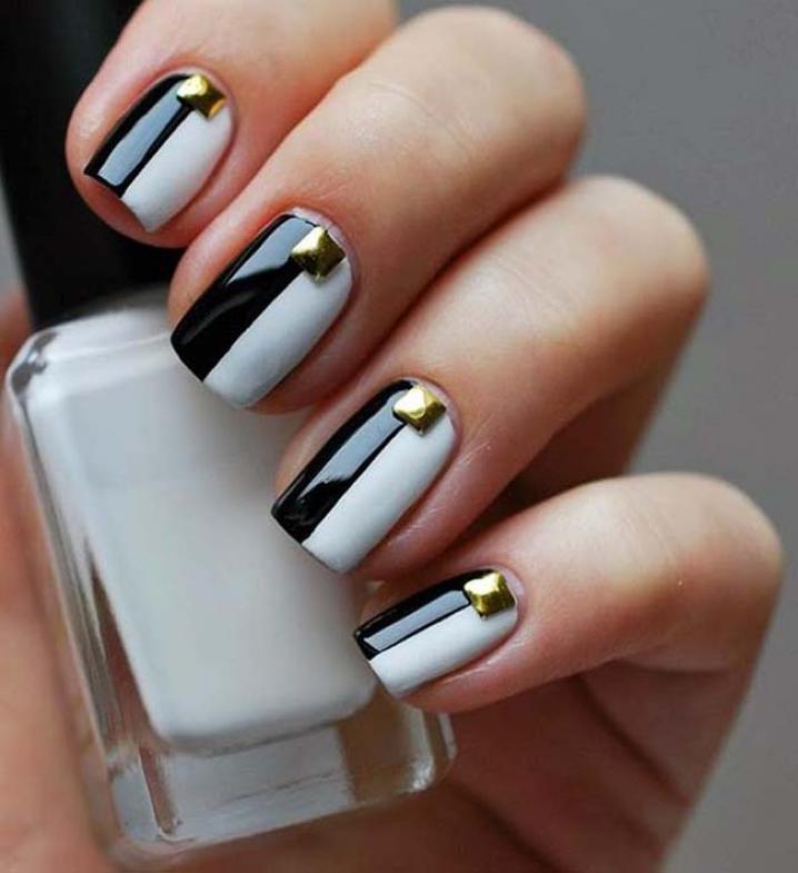 Бело черные ногти дизайн