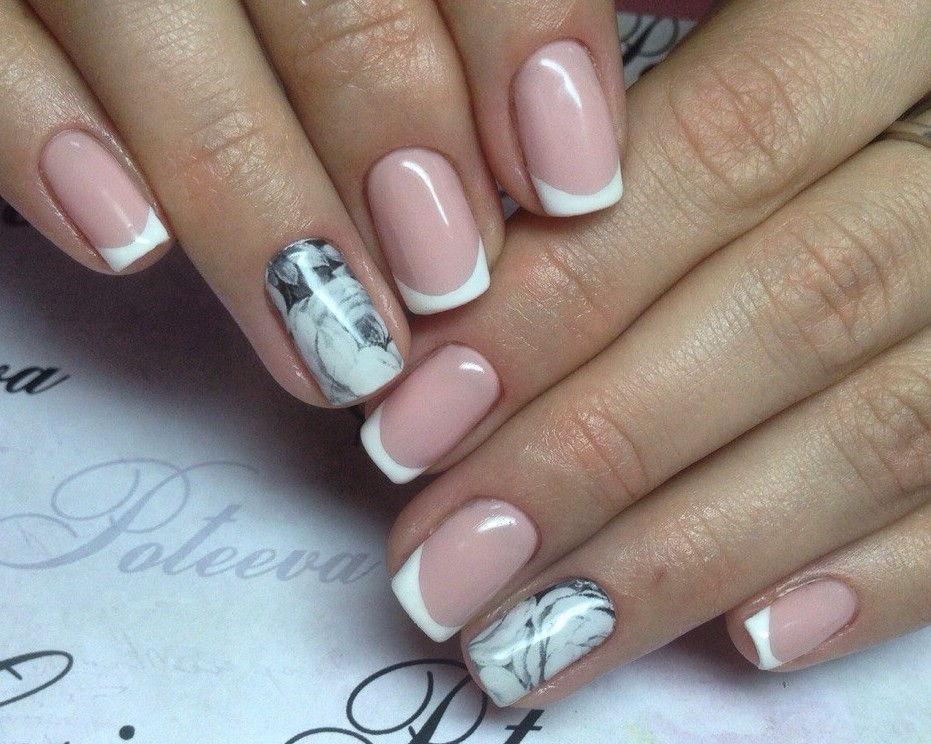 Френч на ногтях с дизайном 2017