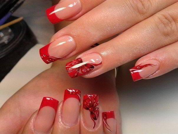 Красное наращивание ногтей фото