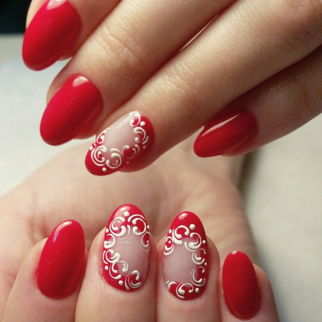 Маникюр дизайн красных ногтей фото