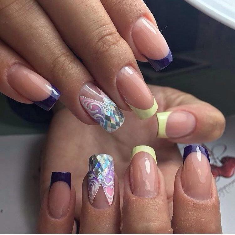 Ногти френч с рисунком кружево