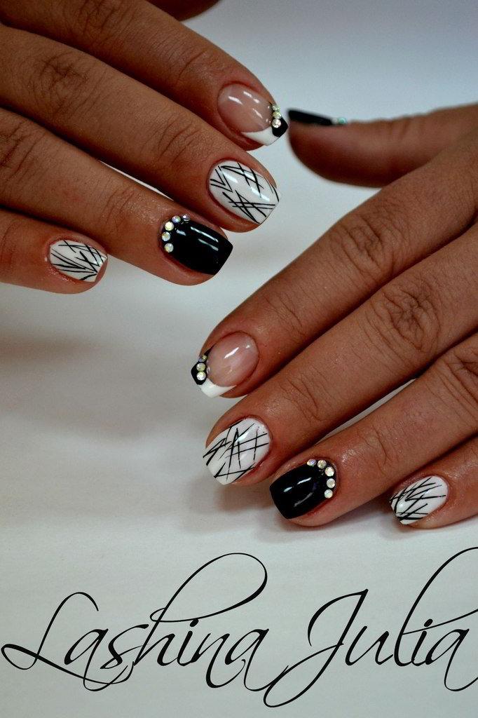 Дизайн ногтей 2017 черно белый
