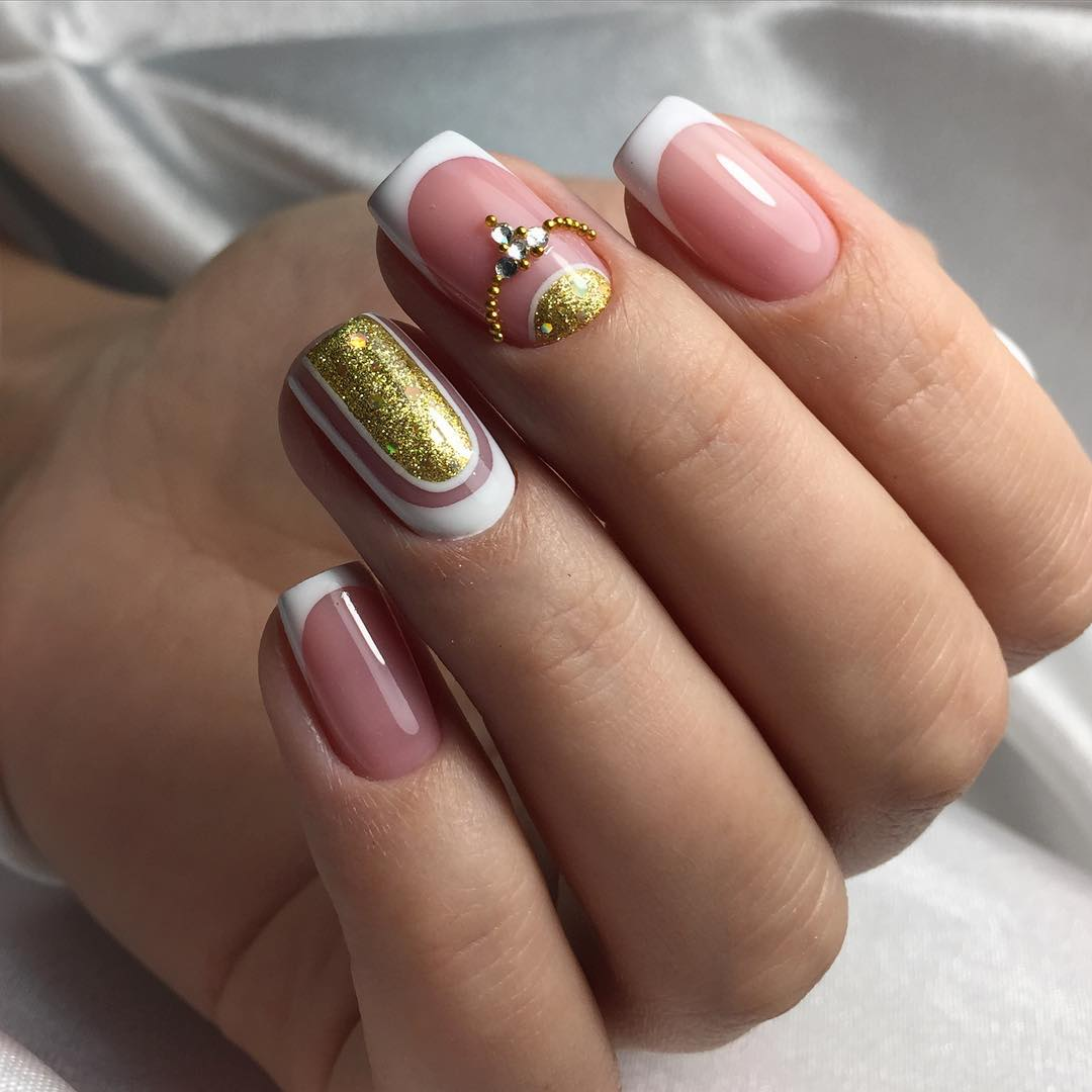Френч с рисунками на квадратные ногти