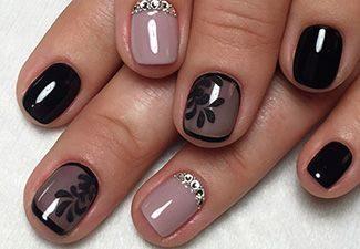 Темный маникюр на ногти разной длины - фото 90