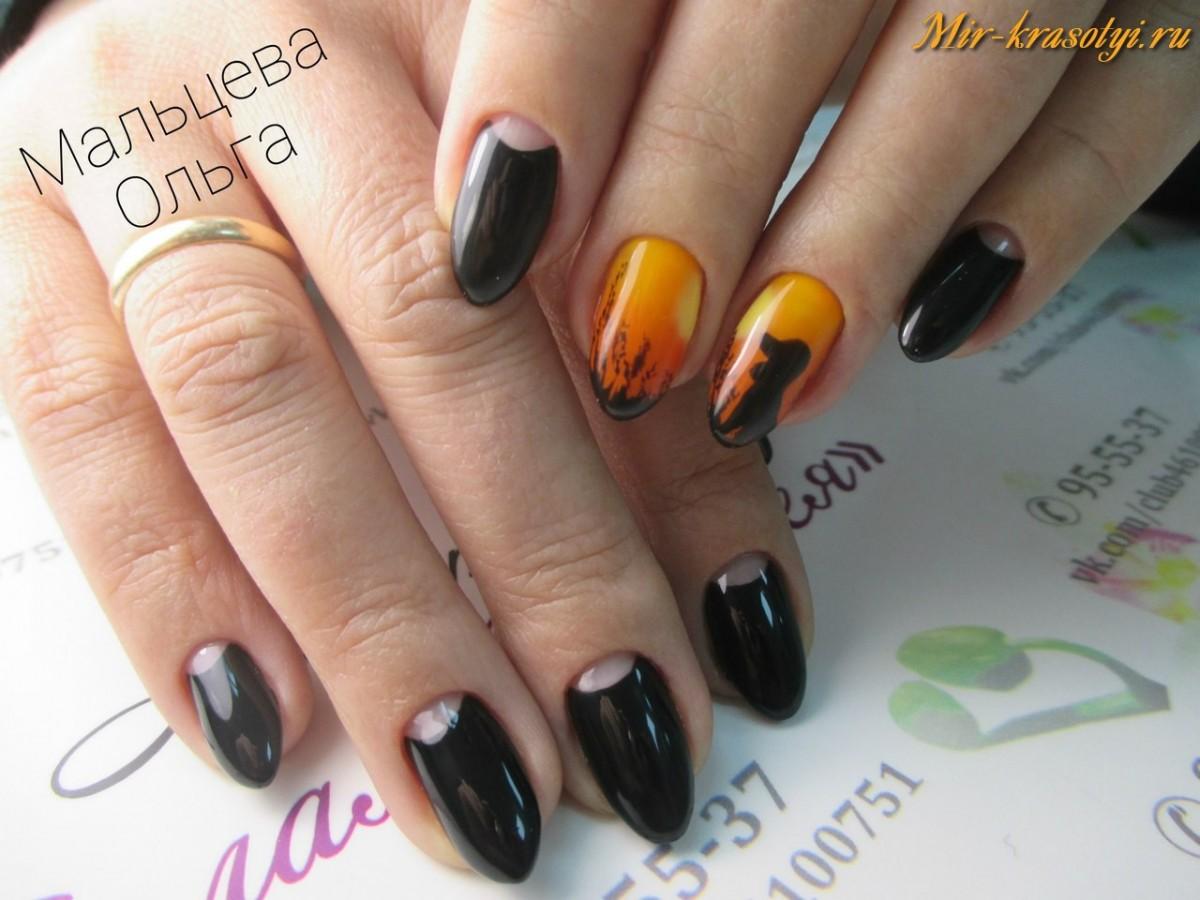 Черный гель лак дизайн фото