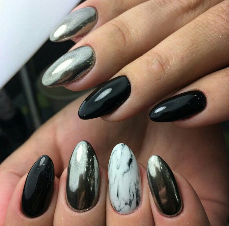 Дизайн ногтей с чёрным гель лаком
