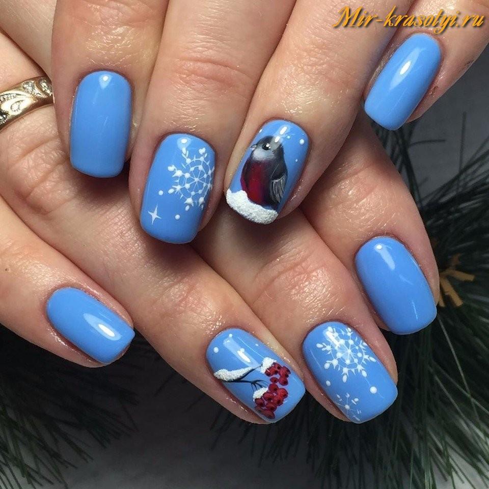 Гель лак голубой дизайн