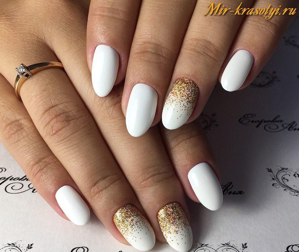 Дизайн ногтей с белым лаком