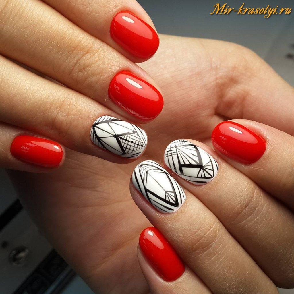 Красные с белым ногти дизайн 2018 фото