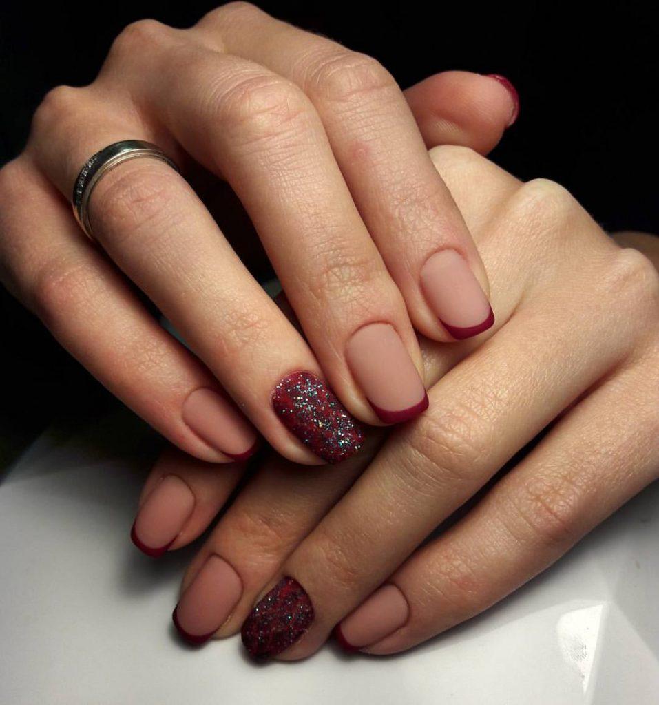 Ногти гель лак дизайн 2017 новинки лето бордовый френч