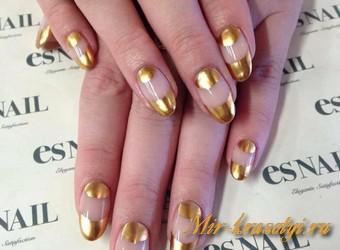 Золотой дизайн ногтей 2017