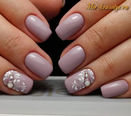Новогодний маникюр 2015 на короткие ногти гель лаком 51