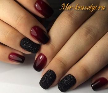 Ногти омбре красно черное