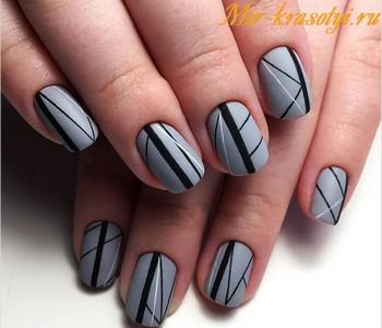 Черно серый маникюр