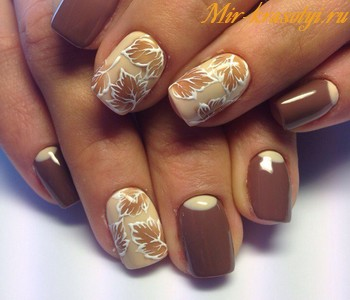 Коричневые ногти дизайн