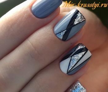 Серый дизайн ногтей 2018