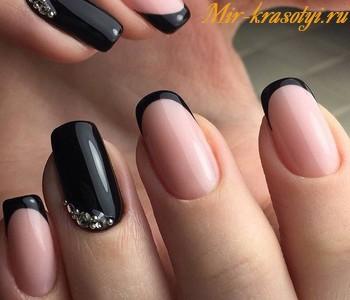Чёрный матовый френч на ногтях фото 2018 новинки