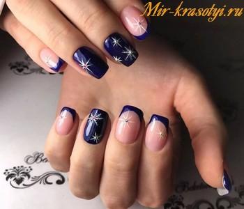 Дизайн ногтей 2018 френч со стразами