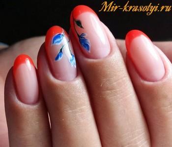 Маникюр 2018 фото идеи френч с рисунком на овальные ногти