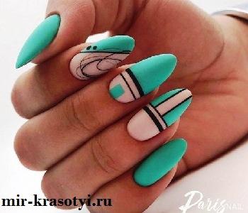Летний дизайн ногтей лунный и френч