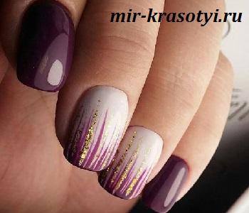 Дизайн ногтей с блестками и стразами на короткие ногти